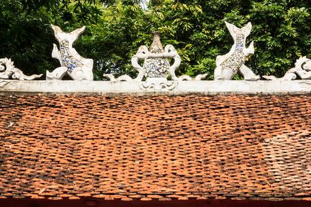Hanoi,Vietnam - October 21,2017 : Beautiful View of Roof Sculptures Art of Temple of Literature (Van Mieu in Vietnamese), it known as Temple of Confucius in Hanoi.