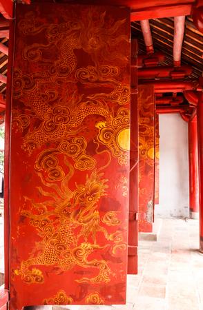 Hanoi,Vietnam - October 21,2017 : Beautiful View of Gates Drawings Art of Temple of Literature (Van Mieu in Vietnamese), it known as Temple of Confucius in Hanoi.