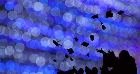 Silhouette of Graduate Students throw mortarboards in university graduation success ceremony. Congratulation on Education Success, Graduation Ceremony university graduates, Commencement Day Concept 写真素材