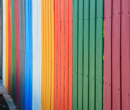 vintage rainbow colorful fences background. construction industrial interior, exterior materials concept.