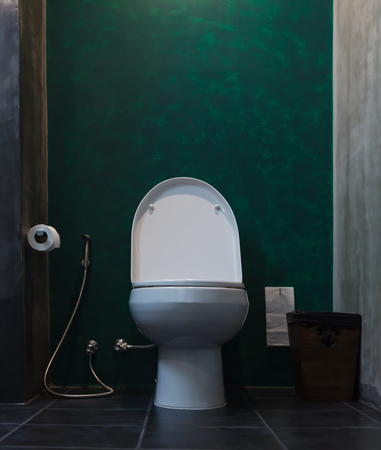 white ceramic flush toilet bowl in bathroom with toilet paper sanitary bag, bidet spray shower health faucet and rubbish bin on tropical green background. Interior Lavatory furniture design concept.