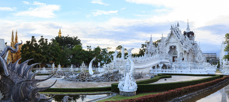 Chiangrai, Thailand - September 01, 2018: Wat Rong Khun (White Temple) is one of most favorite landmarks tourists visit in Thailand, built with modern contemporary unconventional Thai Buddhist arts. Editorial