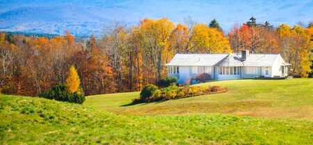 Selective Focused White Rural Holiday Modern House surrounded by Natural Forest Background. Exterior, Architectural Landscape Decoration, Living with Colorful Autumn Leaves Color Season Scenery.