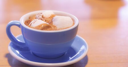 Drink Hot Chocolate topped by Milk Latte Foam with marshmallow in blue ceramic porcelain cup on wooden table background. Relaxed moment with healthy dairy beverage with melted sweets in morning.
