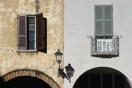 The facade of a house in Italy