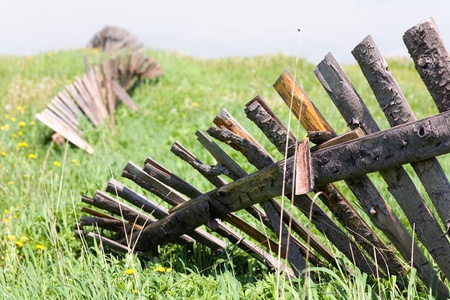 Fence in a field Stock Photo