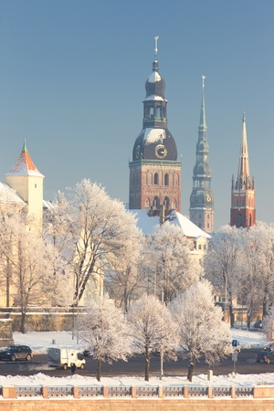 Medieval city in winter