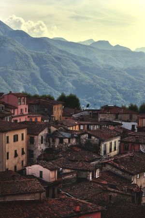 A small town in Tuscany in the valley between the hills Stock Photo