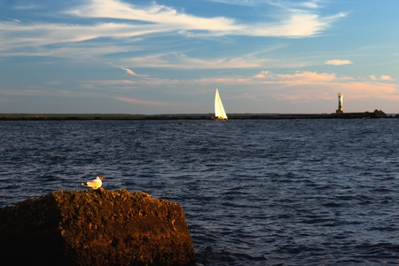 Seagulls and boats in the river mouth at the lighthouse Stock Photo