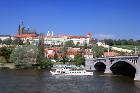 Panorama of Prague from the river Editorial