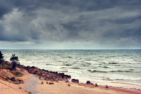 inclement weather: Bad weather on the Baltic Sea Stock Photo
