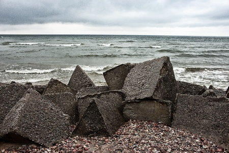 Breakwater. Baltic sea. Stock Photo