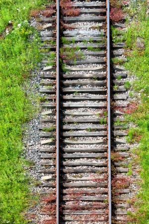 View of the railroad tracks on top Stock Photo