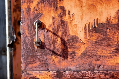 The handle on the old rusty door photo