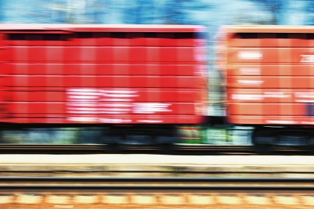 Freight and passenger trains at speeds
