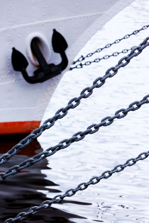 Anchor chain on a ship photo