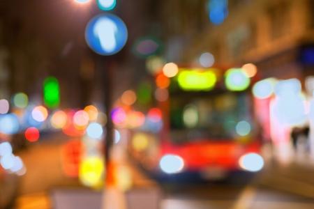 Bus in the street of London in DEFOCUS