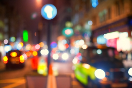Taxi in the street of London in DEFOCUS