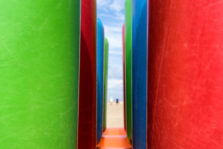 Inflatable structures on the beach  Jurmala, Latvia photo