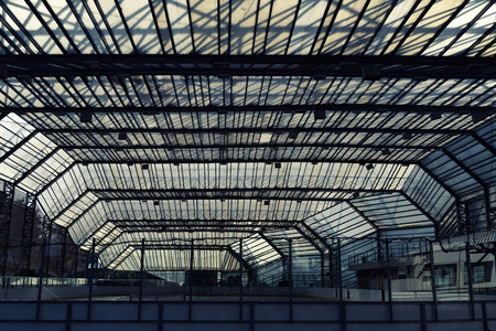 Urban construction under a glass roof. Rink Stock Photo