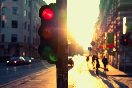 Traffic lights at night outdoors at sunset. Riga, Latvia