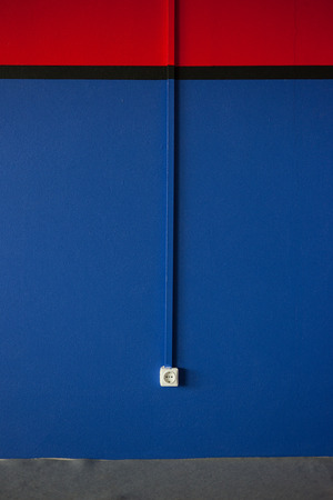 rosette: New painted blue wall with white rosette