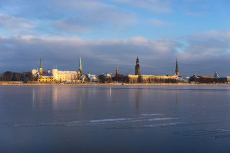 Panorama of Riga on the frozen river and fresh snow. Riga, Latvia