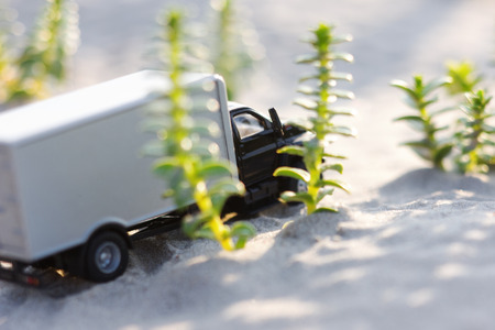 Toy truck rides on the sand in green grass Stock Photo