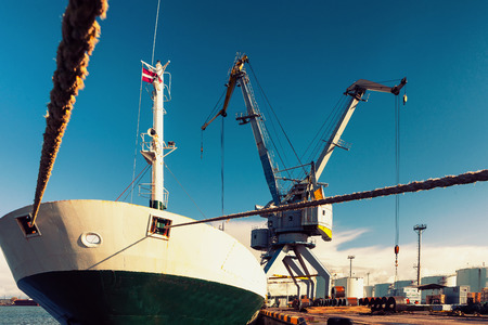 loading of cargo: Loading and unloading of rolled iron in the port with cranes in Europe