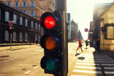 Traffic lights at night outdoors at sunset. Riga, Latvia photo
