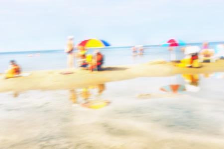 vacationers: Vacationers people on the beach near the Baltic sea. Jurmala. Latvia