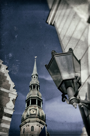 Vintage stylized photo St. Peter in Riga