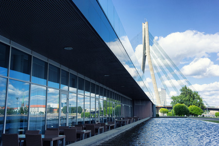 Cablestayed bridge and the reflection in the windows of Riga. Latvia