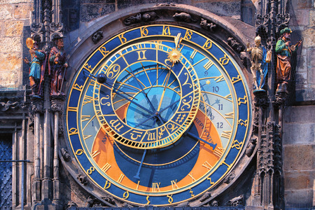 Famous astronomical clock astronomical clock with chimes and sculptures in Prague Фото со стока