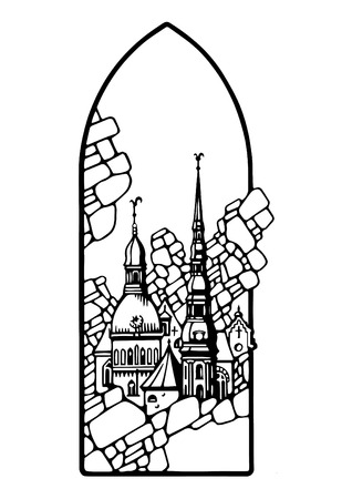 european culture: Traced image of Riga for the manufacture of cliches to work on the skin or other materials Illustration