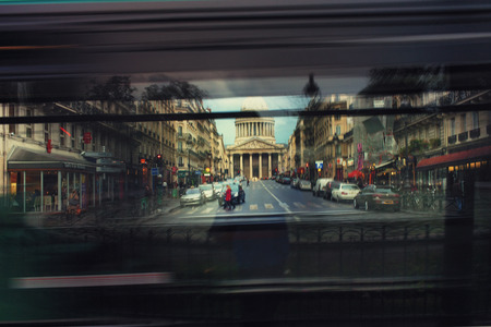 paris france: France. City life in Paris in the early spring through the window of a passing bus. Blurred Stock Photo