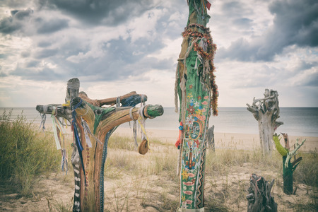 exercice: Latvia. Colored pieces of trunks and branches of trees cast ashore after a storm on the background of the beach and sea with a dramatic sky