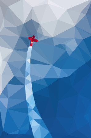 Red biplane aircraft flying up in the blue sky with white clouds. Triangul background