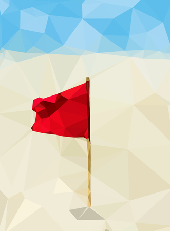 baltic sea: Red flag on the yellow sand against the blue sky and sea. Polygons. Baltic sea. Latvia