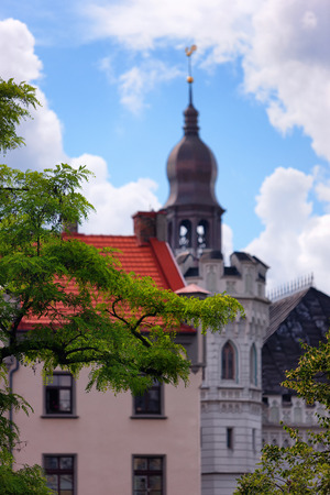 guild hall: Tower Dome of the Small Guild Hall and red roof on a background of green wood on Livu square in Riga Stock Photo