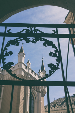 Old Great Guild hall on the background of blue sky through the delicate gate early spring in Riga Фото со стока