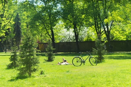 Young people with a bicycle rest on the green grass among the flowering trees in the park. Blurry