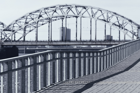 Graphics of lines of bridges and handrails in a modern city from glass and concrete. Riga Фото со стока