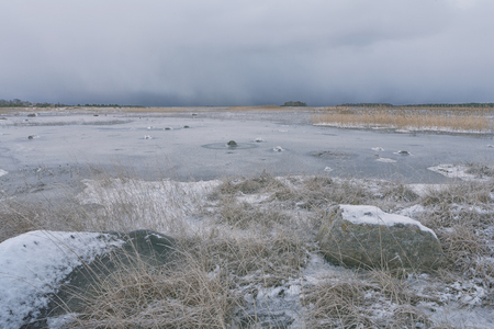 The first ice on the Baltic Sea in the dunes with grass and stones