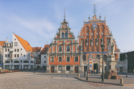 House of Blackheads at the Town Hall Square in Riga in the autumn on a sunny day