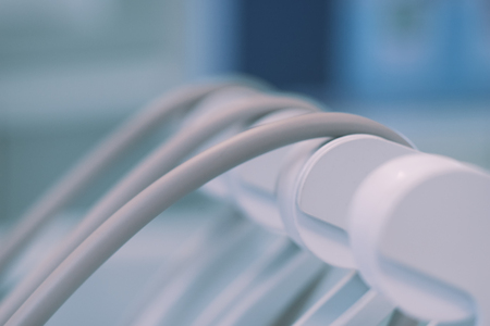 Drum wires on dental chair close-up for background