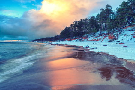 Clouds at sunset reflected on the sand of the beach with pines of the Baltic