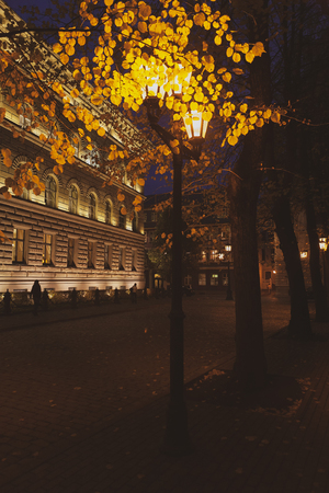 Saima building with illumination in Riga in autumn against the background of a street lamp in the evening