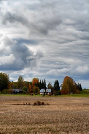 A white two-story rural house with trees stands on the edge of a field of mowed cereals in autumn
