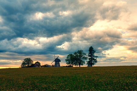 Sunset with dramatic sky over a field of yellow dandelions and a windmill on a hill. Latvia Stock Photo